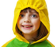 Маленькая девочка с плащом стоковые изображения rf