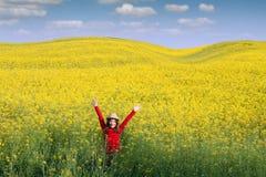 Маленькая девочка с руками вверх на весеннем сезоне поля Стоковые Фото
