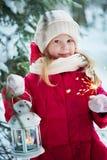 Маленькая девочка с электрофонарем и светами Бенгалии Пуща, зима стоковые фото