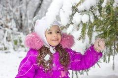 Маленькая девочка тряся ветвь сосны покрытую снегом Стоковые Фотографии RF