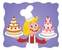 Маленькая девочка шеф-повара торта Стоковые Изображения RF