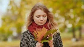 Маленькая девочка joyfully представляя на камере с букетом красочных листьев Идите в парк города в осени видеоматериал