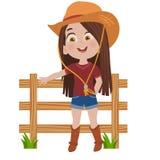Маленькая девушка пастушкы иллюстрация вектора
