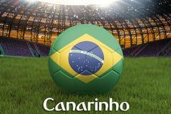 Маленькая канерейка на языке Бразилии на шарике футбольной команды на большой предпосылке стадиона Концепция конкуренции команды  иллюстрация штока