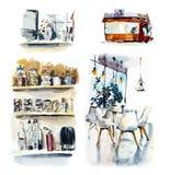 Маленькая кофейня Иллюстрация акварели нарисованная рукой иллюстрация штока