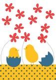 Маленькая поздравительная открытка пасхи цыпленоков бесплатная иллюстрация