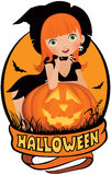 Маленькая сексуальная ведьма хеллоуин Стоковые Изображения RF