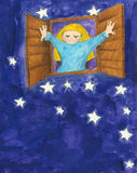 Маленькая девочка плача в ноче Стоковые Фотографии RF