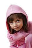 Маленькая девочка с клобуком Стоковые Изображения