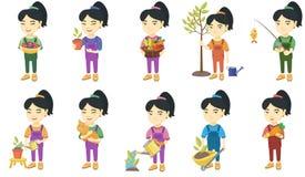 Маленькие азиатские установленные иллюстрации вектора девушки иллюстрация штока