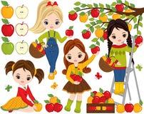 Маленькие девочки вектора милые выбирая яблока в саде иллюстрация вектора