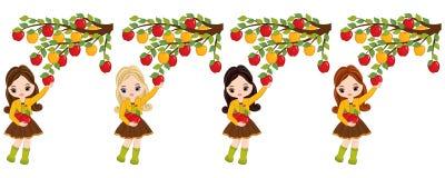 Маленькие девочки вектора милые выбирая яблока от деревьев иллюстрация вектора