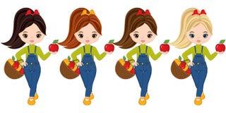 Маленькие девочки вектора милые с корзинами яблок бесплатная иллюстрация