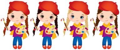 Маленькие девочки вектора с палитрой и кистями Художники вектора маленькие Стоковое Изображение RF