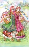 Маленькие девочки в традиционном costume иллюстрация штока