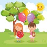 Маленькие девочки играя на парке иллюстрация штока