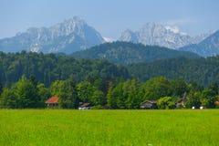 Маленькие дома и зеленое поле Стоковые Фотографии RF