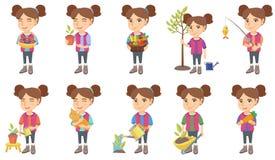 Маленькие кавказские установленные иллюстрации вектора девушки бесплатная иллюстрация