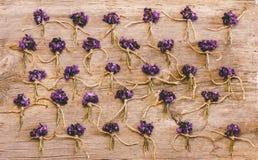 Маленькие пуки полевых цветков и фиолетов на старой деревянной предпосылке Стоковая Фотография