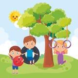 Маленькие ребеята собирают играть на парке иллюстрация вектора