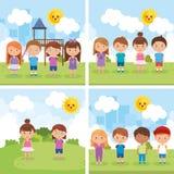 Маленькие ребеята собирают играть на парке бесплатная иллюстрация