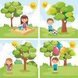Маленькие ребеята собирают играть на парке иллюстрация штока