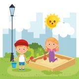 Маленькие ребеята соединяют играть на парке бесплатная иллюстрация