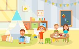 Маленькие ребеята шаржа едят торты в детском саде бесплатная иллюстрация