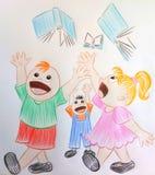 Маленькие счастливые дети внешкольные! Иллюстрация штока