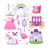 Маленькие установленные значки пинка принцессы Vector иллюстрация единорога, замка, кроны, фламинго, девушек оденьте, радуга, эки иллюстрация штока