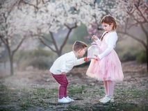 Маленький брат и сестра играя в парке стоковое изображение rf