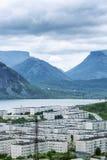 Маленький город в горах озером Стоковое фото RF