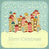 Маленький город и снежок иллюстрация штока