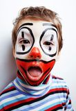 Маленький милый мальчик с facepaint любит клоун, pantomimic выражение Стоковая Фотография RF
