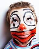 Маленький милый реальный мальчик с facepaint любит клоун, pantomimic expre Стоковые Изображения RF