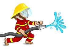 Маленький пожарный в действии - иллюстрации вектора Стоковая Фотография RF