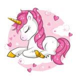 Маленький розовый единорог иллюстрация штока