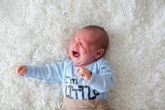 Маленький newborn младенец плача, младенец с сыпью на коже Стоковые Фотографии RF