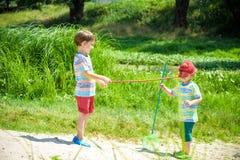 2 маленьких брать отпрыска играя с ветроуловител-сетью на луге Стоковое Изображение