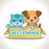 2 маленьких любимчика в коробке Иллюстрация котенка и щенка Стоковые Изображения RF