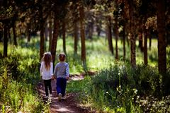 2 маленьких сестры идя и играя на дороге в сельской местности на теплом заходе солнца лета милые девушки немногая задний взгляд Стоковая Фотография RF