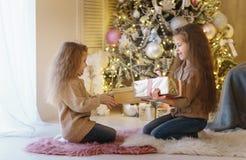 2 маленьких сестры на рождественской елке стоковая фотография rf