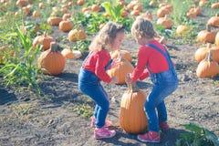 2 маленькой девочки нося тыкву на заплату поля Стоковое фото RF