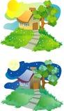 малое дома холма сельское Стоковое фото RF