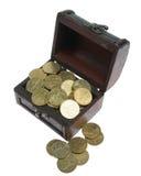 малое золота монеток комода раскрытое Стоковая Фотография