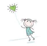 малое сердца девушки воздушного шара форменное Стоковое Изображение