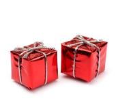 Малые красные присутствующие коробки Стоковые Фото