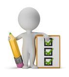 малые люди 3d с clipboard и карандашем Стоковое Изображение