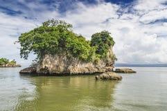 Малые острова, скалы, окантовали при вода, предусматриванная при зеленая вегетация, обитаемая в колониями пеликана Стоковые Изображения