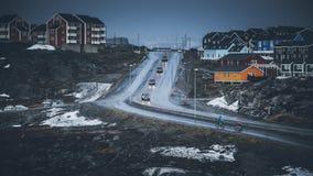 Малые покрашенные дома Nuuk, Гренландия Май 2014 Стоковое Изображение